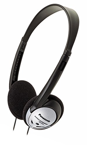 Panasonic On-Ear Stereo Headphones RP-HT21 (Black & Silver) Lightweight and Comfortable, Powerful Bass, Audiophile