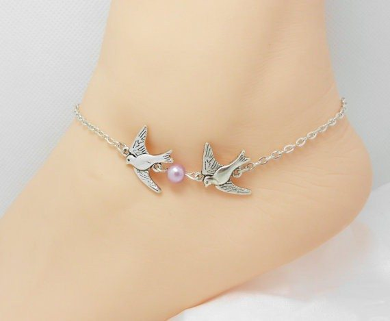 Double Bird Anklet With Pearl