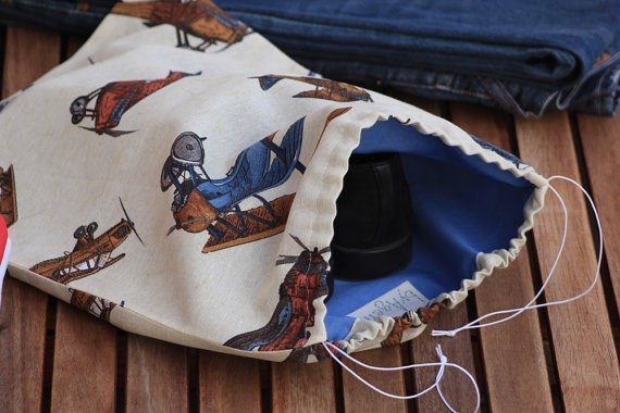Men's Shoe Bag With Airplanes