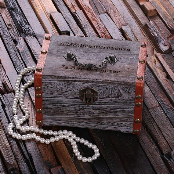 Personalized Wood Vintage Trunk Box