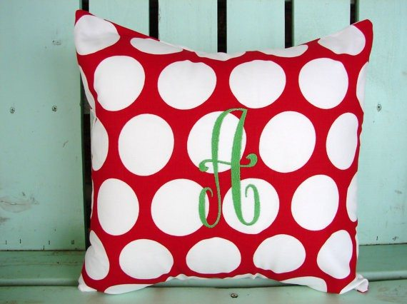 Red White Polka Dot Pillow Cover