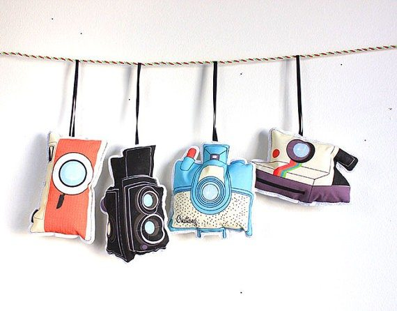 Set of Four Vintage Camera Ornaments