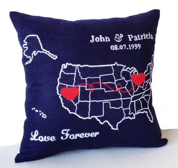USA Map Pillow Cover