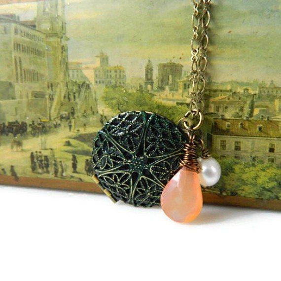 Verdigris Locket Necklace