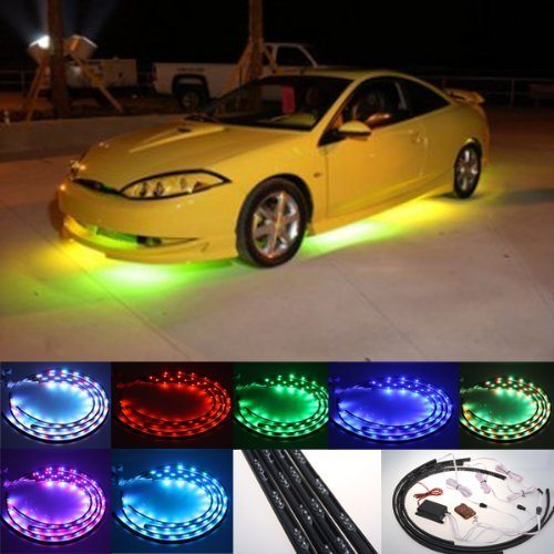 Zhol 7 Color LED Under Car Glow Underbody System Neon Lights Kit